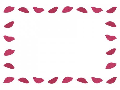 サツマイモの囲みフレーム飾り枠イラスト