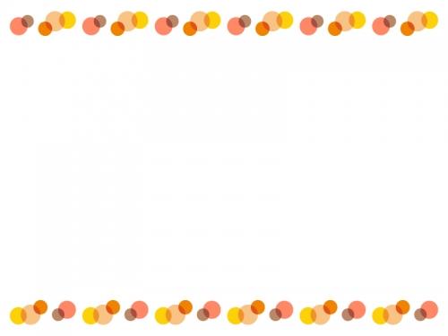 暖色系の水玉の上下フレーム飾り枠イラスト