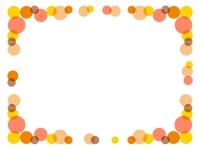 暖色系の水玉の囲みフレーム飾り枠イラスト