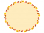 暖色系の水玉の黄色楕円フレーム飾り枠イラスト