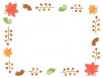 落ち葉と木の実の囲みフレーム飾り枠イラスト