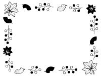 落ち葉と木の実の囲み白黒フレーム飾り枠イラスト