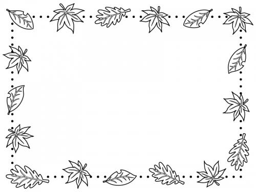 落ち葉とドットの白黒囲みフレーム飾り枠イラスト