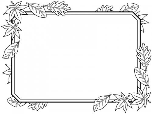 落ち葉とラベル風の四角の白黒フレーム飾り枠イラスト