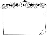 落ち葉と壁に掛けた紙の白黒フレーム飾り枠イラスト