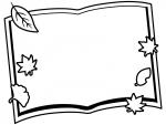 落ち葉と本の白黒フレーム飾り枠イラスト