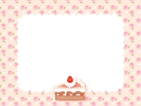 バラ柄とイチゴのショートケーキのフレーム飾り枠イラスト