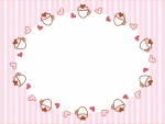 ハートとカップのピンク色ストライプのフレーム飾り枠イラスト