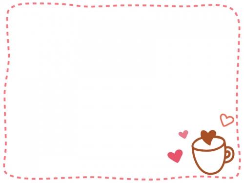 ハートとカップとピンク色の点線フレーム飾り枠イラスト