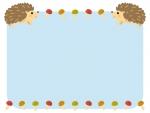 2匹のハリネズミとキノコの水色フレーム飾り枠イラスト