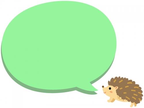 ハリネズミと緑色の吹き出しのフレーム飾り枠イラスト