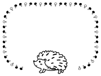 ハリネズミとキノコの白黒フレーム飾り枠イラスト