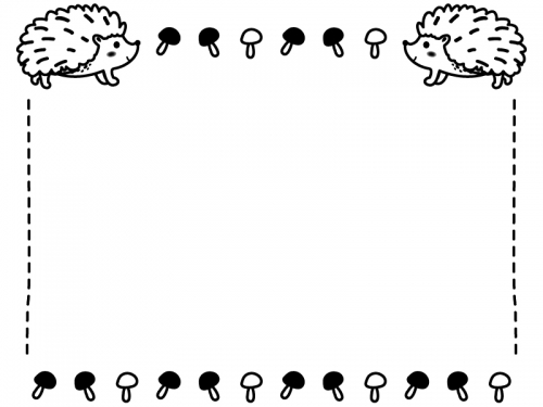 2匹のハリネズミとキノコの白黒フレーム飾り枠イラスト