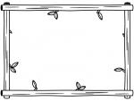 木製の白黒フレーム飾り枠イラスト02