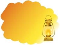 灯をともしたランプのオレンジ色フレーム飾り枠イラスト
