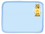 灯をともしたランプの水色フレーム飾り枠イラスト