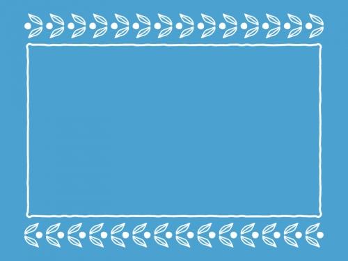 葉っぱの模様の青色フレーム飾り枠イラスト