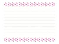 ピンク色の葉っぱの模様の便箋フレーム飾り枠イラスト