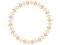 ピンクと黄色の葉っぱの模様の円形フレーム飾り枠イラスト