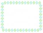 水色と黄緑の葉っぱの模様の囲みフレーム飾り枠イラスト