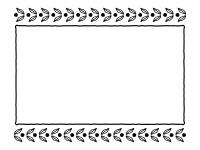 葉っぱの模様の白黒フレーム飾り枠イラスト