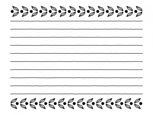 葉っぱの模様の白黒便箋フレーム飾り枠イラスト
