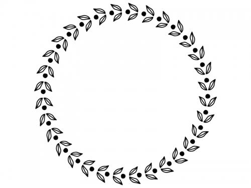 葉っぱの模様の白黒円形フレーム飾り枠イラスト