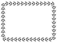 葉っぱの模様の白黒囲みフレーム飾り枠イラスト