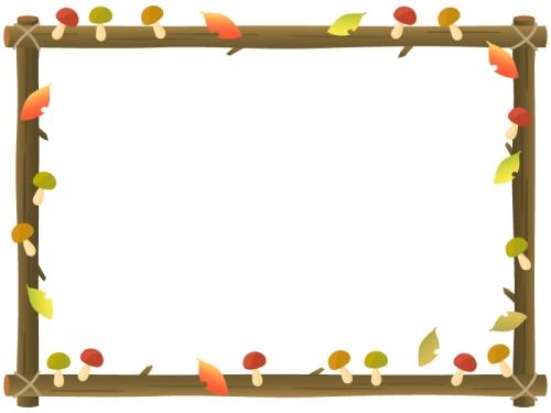 キノコと木の看板のフレーム飾り枠イラスト