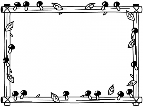 キノコと木の看板の白黒フレーム飾り枠イラスト