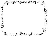 音符とふんわりドットの白黒囲みフレーム飾り枠イラスト