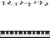 音符とふんわりドットと鍵盤の白黒上下フレーム飾り枠イラスト