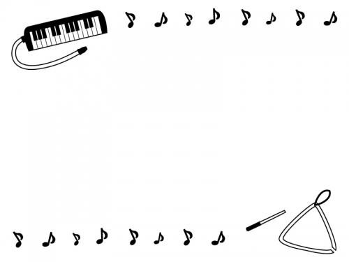 鍵盤ハーモニカとトライアングルと音符の白黒上下フレーム飾り枠イラスト