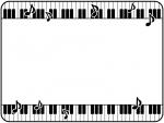 上下の鍵盤と音符の白黒フレーム飾り枠イラスト