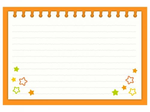 お星さま柄のオレンジ色のノートのフレーム飾り枠イラスト