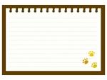 肉球柄の茶色のノートのフレーム飾り枠イラスト