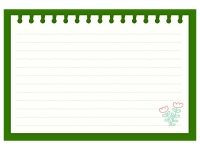 お花柄の緑色のノートのフレーム飾り枠イラスト