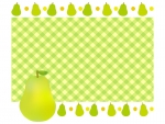 洋梨とチェック柄のフレーム飾り枠イラスト