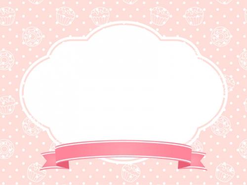 リボンの見出し付きのピンク色スイーツ柄フレーム飾り枠イラスト