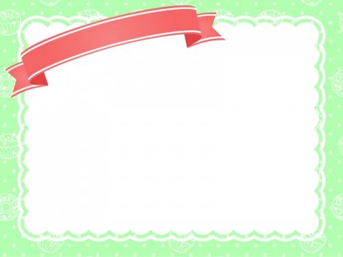 リボンの見出し付きの緑色スイーツ柄フレーム飾り枠イラスト