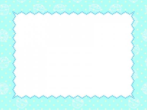 水色スイーツ柄とドットの枠のフレーム飾り枠イラスト