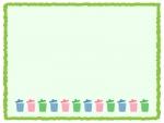 カラフルなごみ箱の緑色フレーム飾り枠イラスト