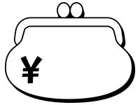 お財布の形の白黒フレーム飾り枠イラスト