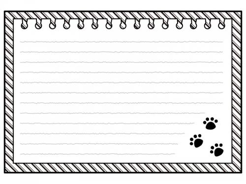 肉球柄のノートの白黒フレーム飾り枠イラスト