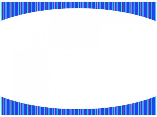 青色のストライプのフレーム飾り枠イラスト