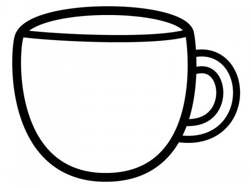 コーヒーカップ型の白黒フレーム飾り枠イラスト02