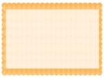 ダイヤ柄パターンのオレンジ色のもこもこフレーム飾り枠イラスト