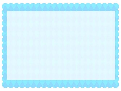 ダイヤ柄パターンの水色のもこもこフレーム飾り枠イラスト