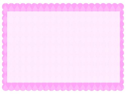 ダイヤ柄パターンのピンク色のもこもこフレーム飾り枠イラスト