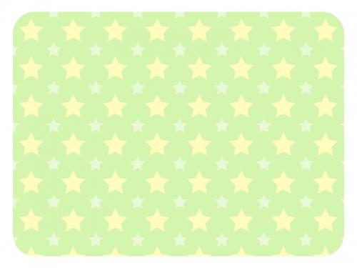 大小の星パターンの緑色フレーム飾り枠イラスト